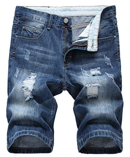 chouyatou Men's Cool Stylish Wrinkle Performance Slim Ripped Denim Shorts (28, Color07)