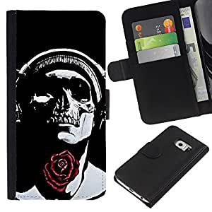 ZCell / Samsung Galaxy S6 EDGE / Rose Headphones Black Skull Music / Caso Shell Armor Funda Case Cover Wallet / Rose Auriculares Negro crá