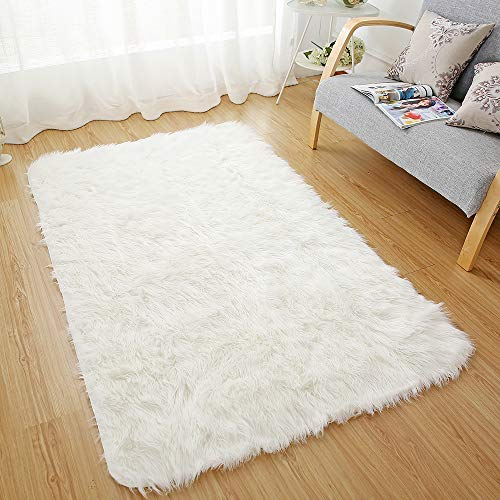OJIA Deluxe Soft Fuzzy Fur Rugs Faux Sheepskin Shaggy Area Rugs Fluffy Modern Kids Carpet for Living Room Bedroom Sofa Bedside Decor(3 x 5ft, Ivory White) (White Soft Rug)