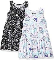 Amazon Brand - Spotted Zebra Girl's Disney Star Wars Marvel Frozen Princess Knit Sleeveless Tiered Dresses