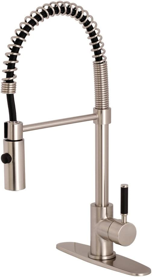 Kingston Brass LS8778DKL Kaiser Single-Handle Pull-Down Kitchen Faucet 8 Inch in Spout Reach Brushed Nickel