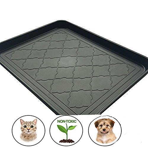 Bella Dog Bowl Bowl (Easyology Premium Pet Food Tray - Dog Food Mat and Cat Food Mat with Non Skid Design - Best Pet Bowl Mat for Containing Spills, 17.5'' x 14'')