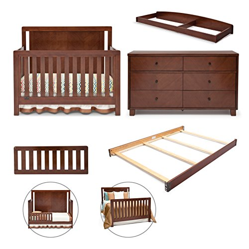 Simmons Kids Chevron 5-Piece Nursery Set; Crib, 6 Drawer Dresser, Changing Top, Toddler Guardrail & Full Size Bed Kit, Espresso Truffle
