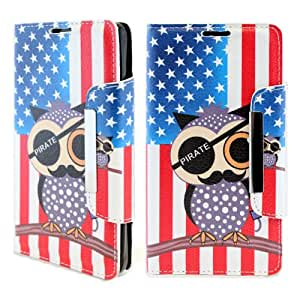 BlueAurora(TM) Apple Iphone 6 PLUS (5.5 in) Luxury Flip PU Leather Glossy USA Flag & Pirate Owl Image Folio Cover Wallet Phone Case With Built-in Media Stand and ID Credit Card Slots & FREE B.A. Touch Screen Stylus Pen