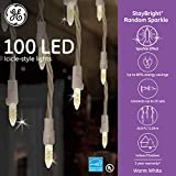 GE StayBright 100-Count Sparkling White Icicle LED Plug-in Christmas Icicle Light