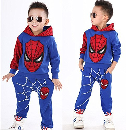 2Pcs Boys Spider-Man Pullover Hoodies+Pants Baby Clothing (Blue, 3 Years) -