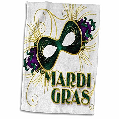 3D Rose Mardi Gras Green Gold and Purple Mask for Celebrating twl_173234_1 Towel, 15