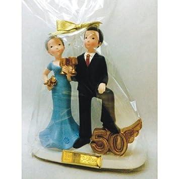 Figura pastel bodas de oro 50 aniversario GRABADA/figuras PERSONALIZADAS para tarta baratas: Amazon.es: Hogar