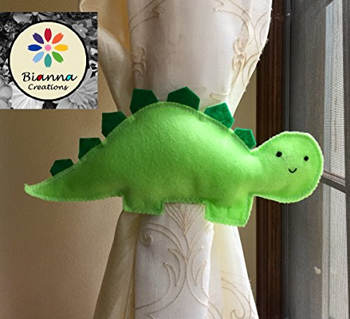 ONE Handmade 5×10 Kawaii Light and Dark Green Felt Dinosaur Baby Stegosaurus Curtain Tieback Holdback Decor – Animal Nursery Room Decoration