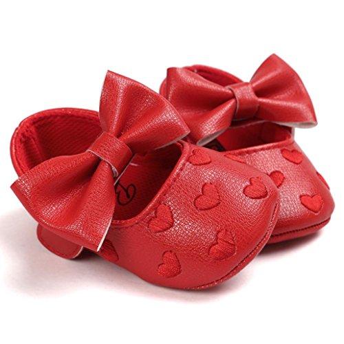 Tefamore Zapatos Zapatillas de deporte de los de Cuero del Bowknot Gráficos De Amor del niño del bebé De suaves antirresbaladizos Rojo