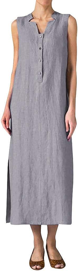 Maxi Long Dress for Women Sleeveless Button Solid Casual Linen Tunic Sundress