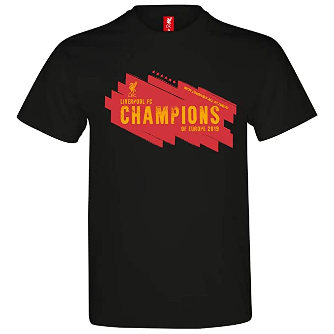 Liverpool Fc Official Gift Mens Kids 6 Times Champions League Winners T Shirt