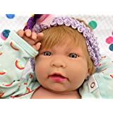 """Baby Blond Girl Reborn Anatomically Correct Washable Berenguer Realistic 17"""" inches Real Soft Vinyl Lifelike Alive Pacifier Doll with Accessories"""