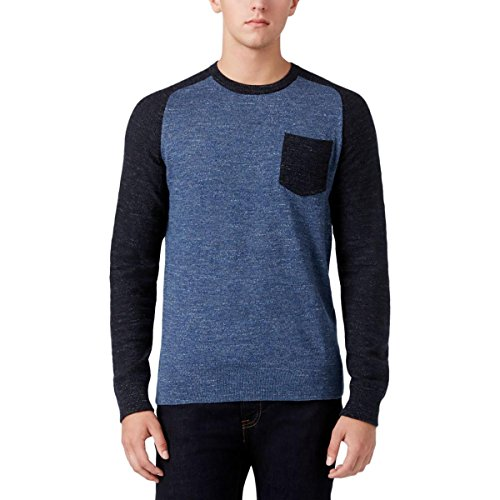 Tommy Hilfiger Nylon Sweater - Tommy Hilfiger Mens Colorblock Crew Neck Pullover Sweater Blue XL