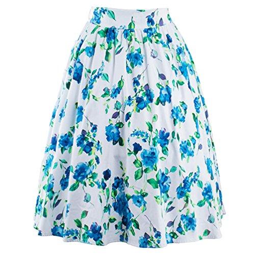 YuanDian A Longue vase Jupe Swing Vintage 50s Plisse Trapze Rockabilly Line Retro Genoux Bleu Imprime Fleur Jupes Femme Mi Midi rqrw6