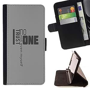 - YOURSELF LIFE TRUST MYSELF QUOTE NOONE - - Prima caja de la PU billetera de cuero con ranuras para tarjetas, efectivo desmontable correa para l Funny HouseFOR Apple Iphone 5 / 5S