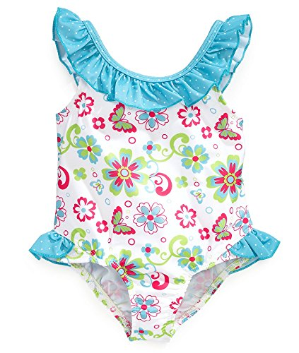Pink Platinum Little Girls One-Piece White Floral and Butterflies Swimsuit - 2T