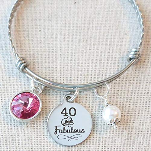 40th BIRTHDAY Gift For Her Milestone October Birthday Gifts Friend 40 And Fabulous Bangle Bracelet Sister Friends