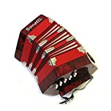 Bonetti Concertina 20 Key Accordion - 40 Reed, Red Color with Case