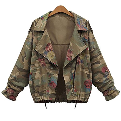 Women Fashion Plus Size Long Sleeve Coat Camouflage Floral Print Casual Crop Jacket (L,Camouflage) -