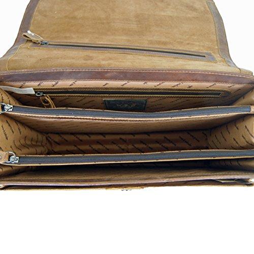 Aktentasche Aktenmappe Laptoptasche PLATON aus braunem Grassland-Leder BARON of MALTZAHN incl. Lederpflege