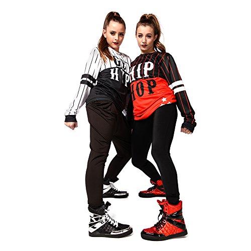 Alexandra Samling Kvinners Glitter Høy Topp Sko Hip Hop Dans Sneaker Rød / Svart