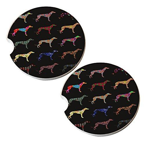 Greyhound Dog Pattern - Sandstone Car Drink Coaster (set of 2 coasters) ()