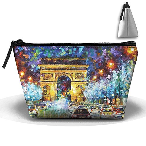 Jingclor Portable Trapezoidal Storage Pouch Triumphal Arch In Paris Painting Cosmetic Bags Travel Toiletry Zipper Pencil Holders