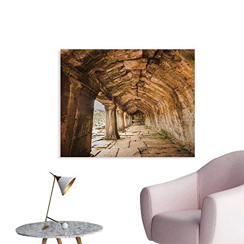 (Tudouhoho Ancient Funny Poster Ancient Temple Corridor with Sculpture on The Wall in Angkor Thom in SIEM Reap Cambodia Wall Sticker Decals Beige W48 xL32)