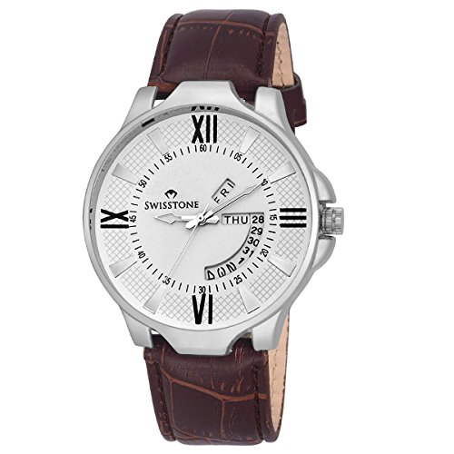 Swisstone WHT105-WHT-BRW Day and Date White Dial Brown Leather Strap Watch for Men/Boys