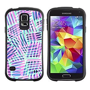 Suave TPU Caso Carcasa de Caucho Funda para Samsung Galaxy S5 SM-G900 / mint green purple lines abstract pattern / STRONG