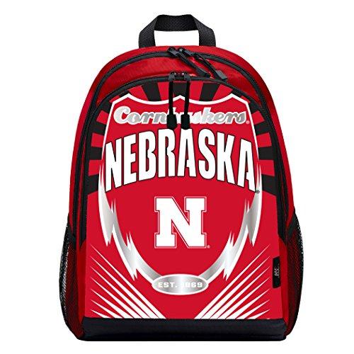 Officially Licensed NCAA Nebraska Cornhuskers Lightning Kids Sports Backpack, Red