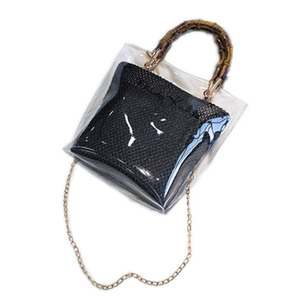 ANANXILA Summer NEW Small Handbag Transparent Women Chain Straw Bag Cross Body Bag Black