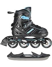 2-in-1 inlineskates/schaatsen Nils Extreme Spirit zwart/blauw ABEC7 maat 29-33 34-38 39-43 verstelbaar