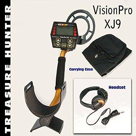 Cazador de tesoro detector de metales con auriculares y llevar Case- visión Pro XJ9 Handheld con una resistente al agua bobina: Amazon.es: Jardín