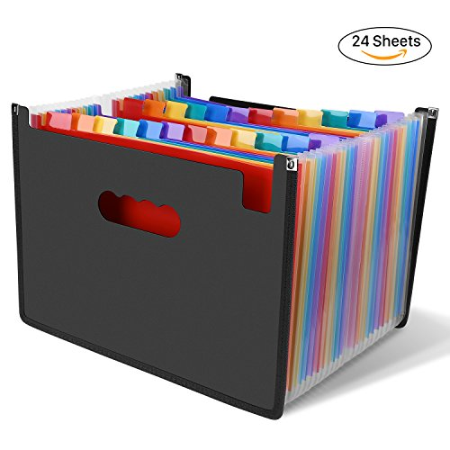 Large Accordion Organizer (LOETAD Expanding Files 24 Pockets Large Capacity A4 Size Colorful File Organizer Plastic Stand Expandable Portable Accordion Folder Business File/Home Paper Organizer Bag)