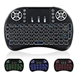Mini Wireless Keyboard with TouchPad - Portable Backlit Keypad, JUNWER 2.4Ghz QWERTY Keyboard for Computer/Laptop/Tablets/Mac/TV/Xbox/PS3, Black