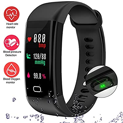 LogHog Fitness Tracker,Waterproof IP68 Color Display Screen Activity Tracker Sports Bracelet with Heart Rate/Blood Pressure/Blood Oxygen Monitor Pedometer Wristband for Andriod and iOS
