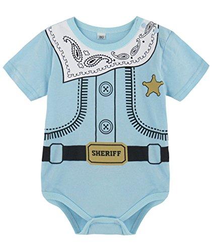 A&J Design Baby Boys' Fun Uniform Bodysuits (12-18 Months, (Sheriffs Uniform)