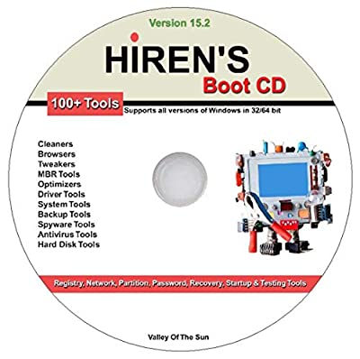 Hiren's Boot CD 15.2 Registry Network Partition Password Recovery Startup Testing Repair MBR Optimizers Drivers Backup Antivirus Spyware Hard Drive & Many Other System Tools for Windows