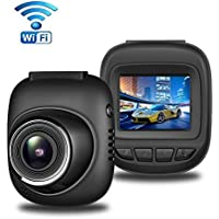 Dash Cam with WiFi, Aisdom Full HD 1080P Mini Dashboard Camera, Dash Camera with 170 Degree Wide-Angle View, 1.5 Inch LCD Screen, G-Sensor, Night Vision, Parking Guard, Loop Recording
