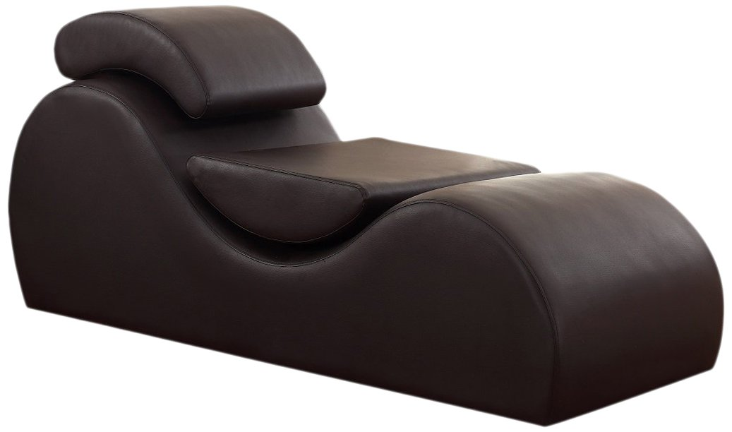 US Pride Furniture Faux Leather Deluxe Stretch Chaise Relaxation and Yoga Chair with Removable Pillows, Dark Brown by US Pride Furniture
