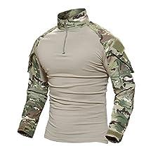 Magcomsen Tactical Military Combat Shirt Long Sleeve with Zipper