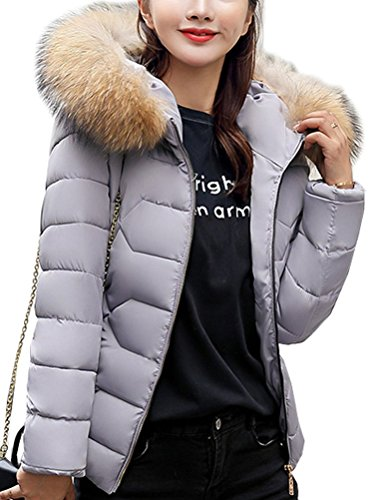 Magike Gris avec Hiver Noir la Blanc Fourrure Doudoune Vest Femme Fille Manteau Court Chaud Veston r4rqF8n6
