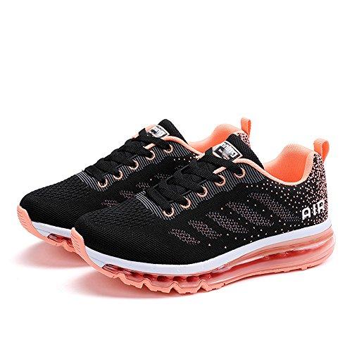 Scarpe Da Corsa Da Donna Con Cuscino Daria Monrinda Sneakers Sportive Traspiranti Nere Rosa