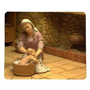 alfombrilla de ratón María se baña Niño Jesús - rectangular - 23cm x 19 cm