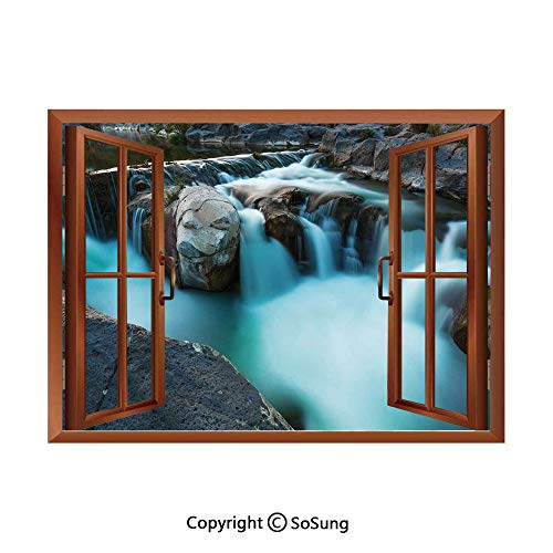 Creative Accents Wood Wall Plate - Landscape Removable Wall Sticker/Wall Mural,Waterfall Basalt Rocks Rural Scenery National Park Nature Woods Photo Creative Open Window design Wall Decor,24