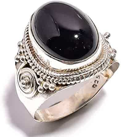 Size 9.55 U.S mughal gems /& jewellery 925 Sterling Silver Ring Natural Black Onyx Gemstone Fine Jewelry Ring for Women /& Girls