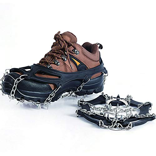 Fang zhou 19 Tooth Crampons Stainless Steel Studs Safety Protection Hiking Fishing Walking Jogging Traction Ice Clip Nails, Real Nails and Durable Silicone