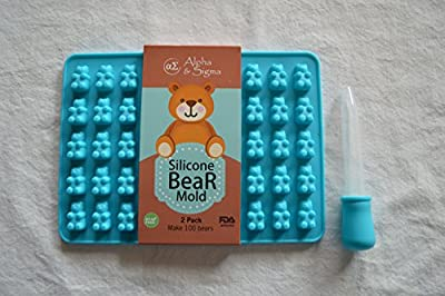 Premium Gummy Bear Molds By Alpha & Sigma - Non-Stick Silicone Candy Mold Trays - Food Grade & BPA Free - Create Delicious Desserts - Suitable For Candy, Chocolate, Jelly, Ice Cream, & More